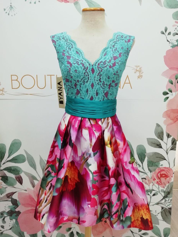 Vestido BYANA ALEGRÍA, falda mikado con cuerpo encaje turquesa fondo frambuesa