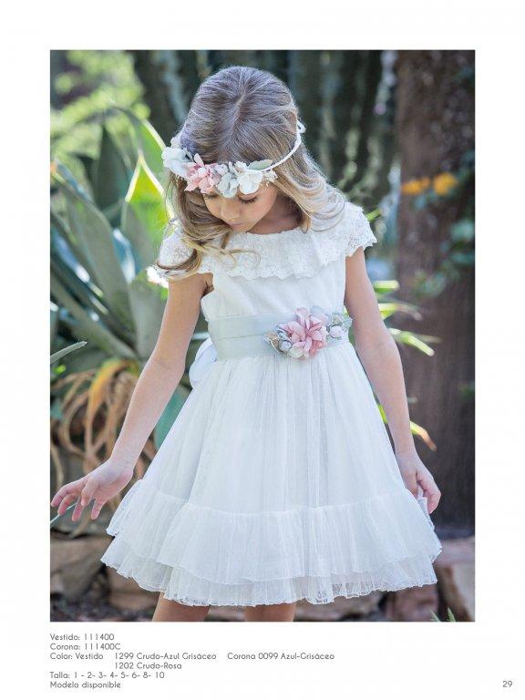Vestido ceremonia niña estilo romántico en plumeti