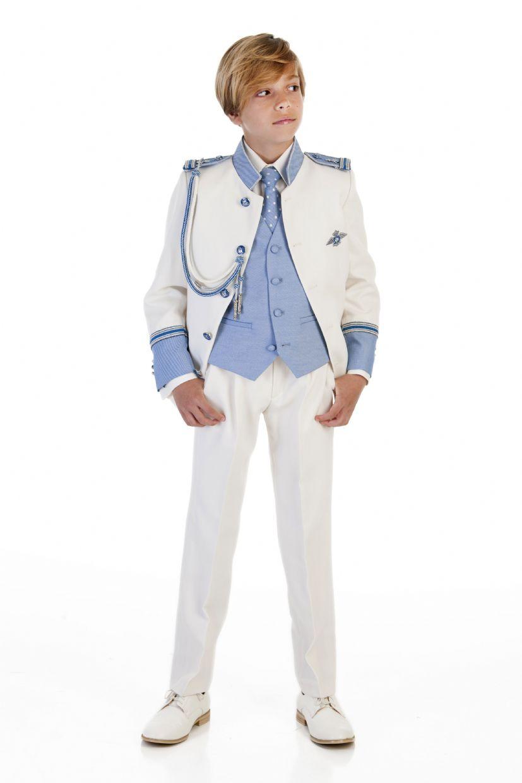 Traje almirante blanco cuello mao