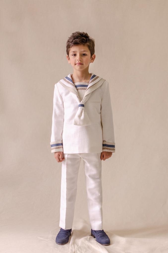 traje marinero lino blanco