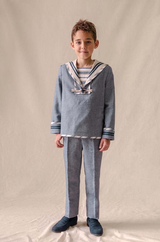 traje marinero lino grisáceo