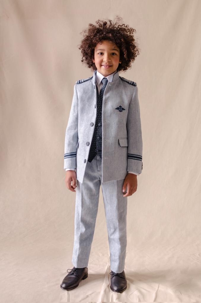 traje almirante azul claro cuello mao