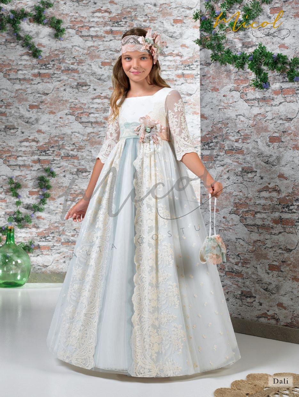 vestido de comunión con sobrefalda