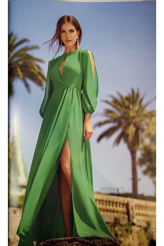 Producto: Vestido Fiesta  verde con mangas de gasa