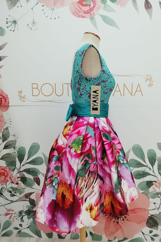 Vestido BYANA ALEGRÍA, falda mikado con cuerpo encaje turquesa fondo frambuesa - Foto 1