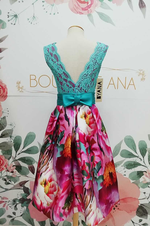 Vestido BYANA ALEGRÍA, falda mikado con cuerpo encaje turquesa fondo frambuesa - Foto 2