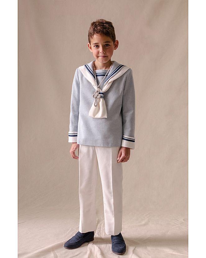 Producto: Traje marinero lino azul y blanco
