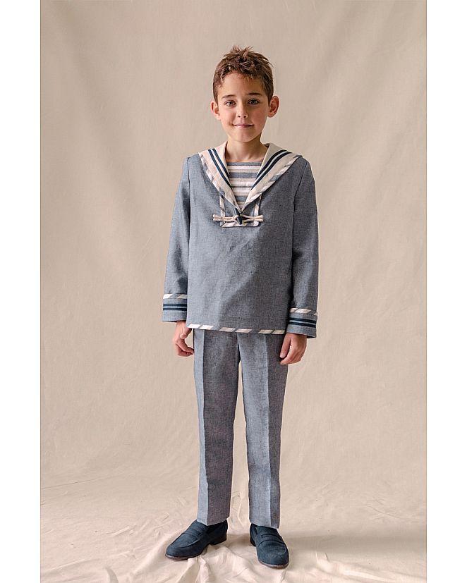 Producto: Traje marinero lino grisáceo