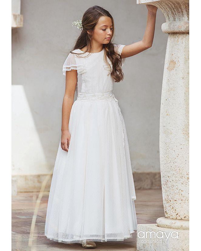 Producto: Vestido comunión amaya manga corta de plumeti