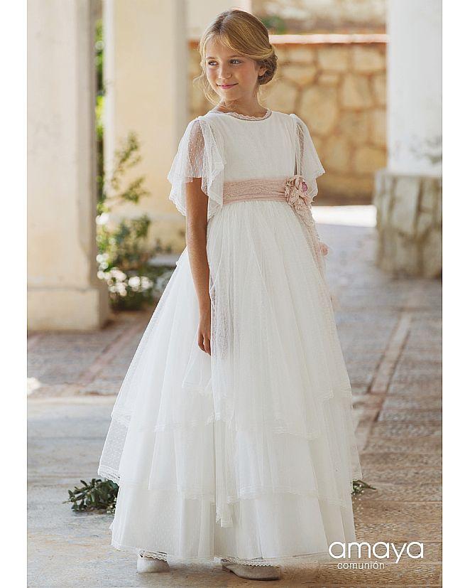 Producto: Vestido Comunión Amaya con mangas de plumeti y fal
