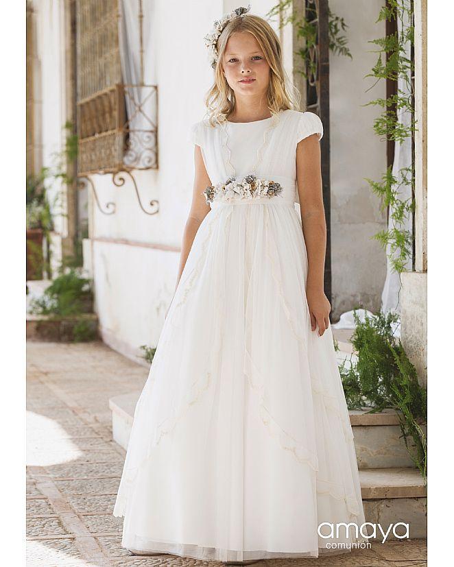 Producto: Vestido Comunión Amaya romántico efecto abertura