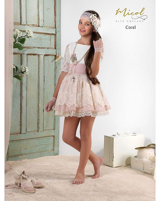 Vestido Comunión Micol Coral  - Foto 1