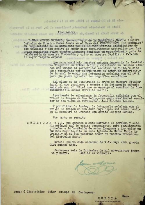 Permiso al Obispo para procesionar nuevas imágenes en 1940