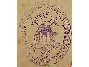 Divulgación Patrimonio Documental de la Cofradía. Sello en tinta de la Agrupación del Ósculo 1946