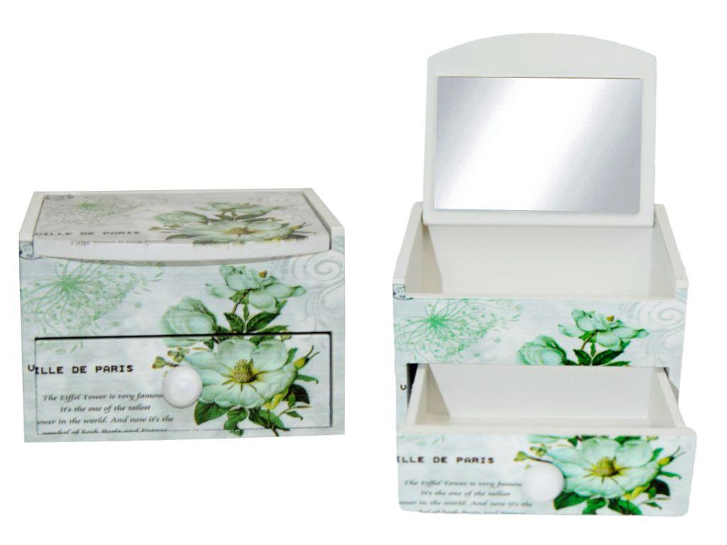 Joyero vintage flores con cajón y espejo (10x8x7,5 cm.)