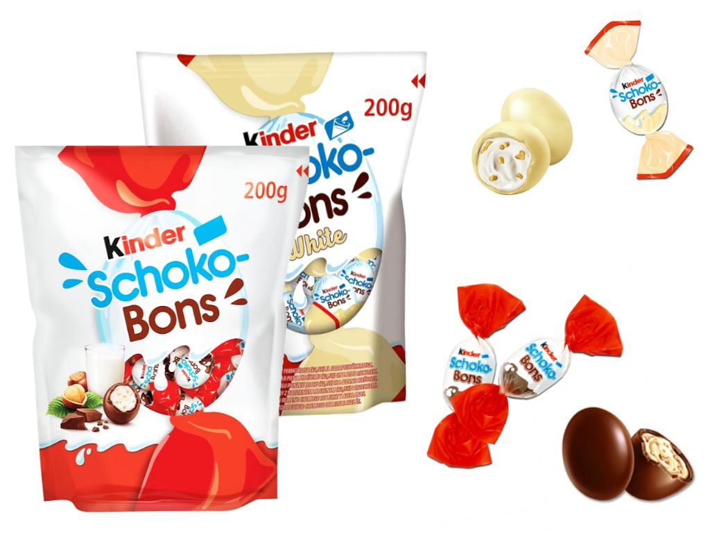 Kinder schokobons white (200 gr. - Aprox. 32-34 unds.)