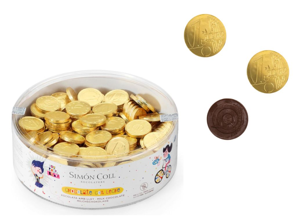 Monedas de chocolate con leche 20 mm. (850 gr. - Aprox. 300 unds.)
