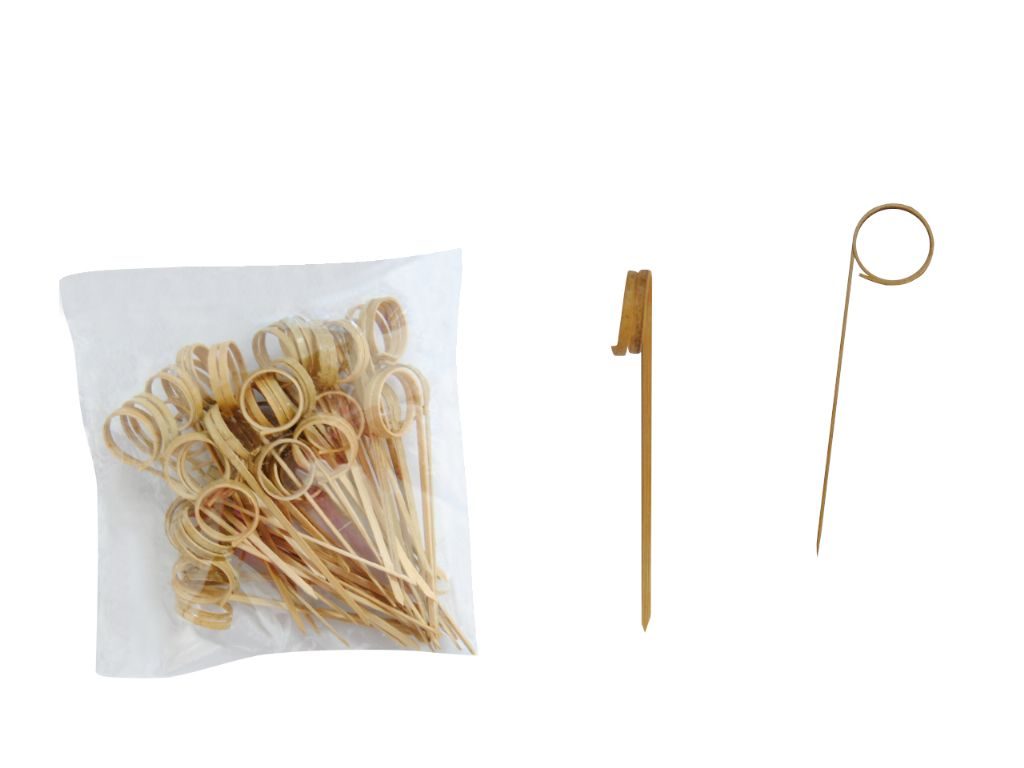 Pinchos de madera rizo 9,5 cm. (50 unds.)