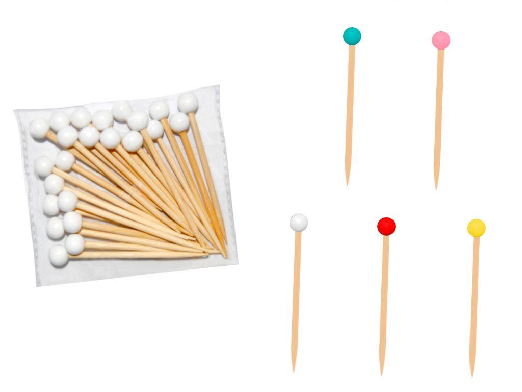 Palillos de madera con bola 7 cm. (24 unds.)