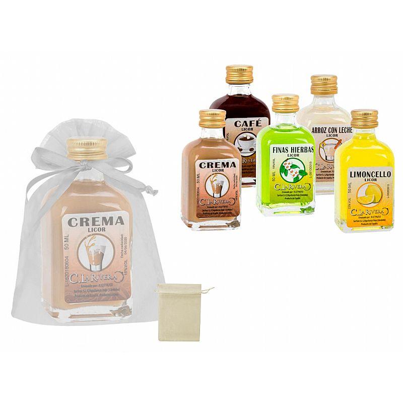 Licor frasca mini (5 cl.) + bolsa de tul (8525)*