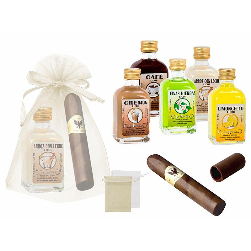 Licor frasca mini (5 cl.) + puro de chocolate (ID-0001) + bolsa de tul (8943)*