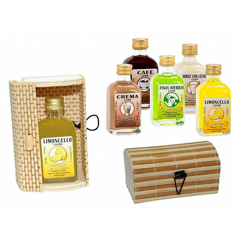 Licor frasca mini (5 cl.) + caja de madera (8519)*