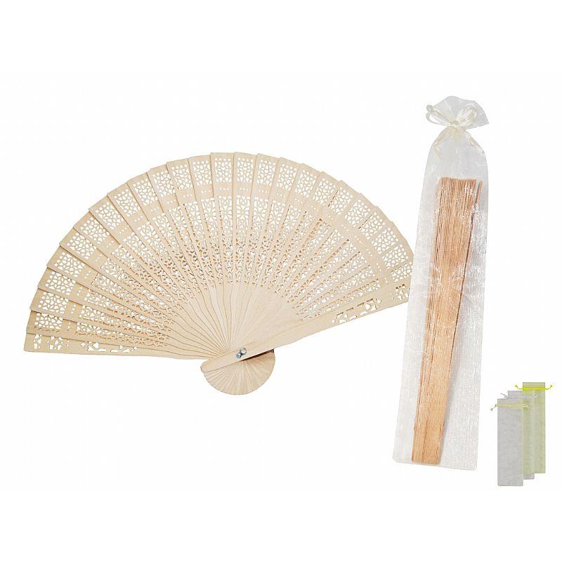 Abanico de madera  (19 cm.) + bolsa de tul (8531)*