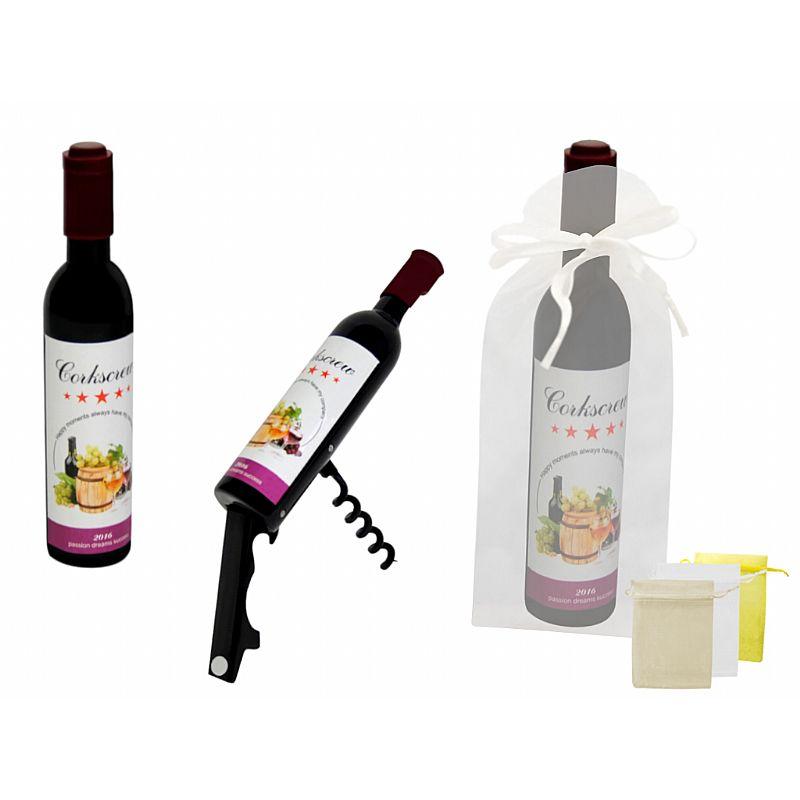 Destapador abrebotellas botella de vino (11,5 cm.) + bolsa de tul (8532)*