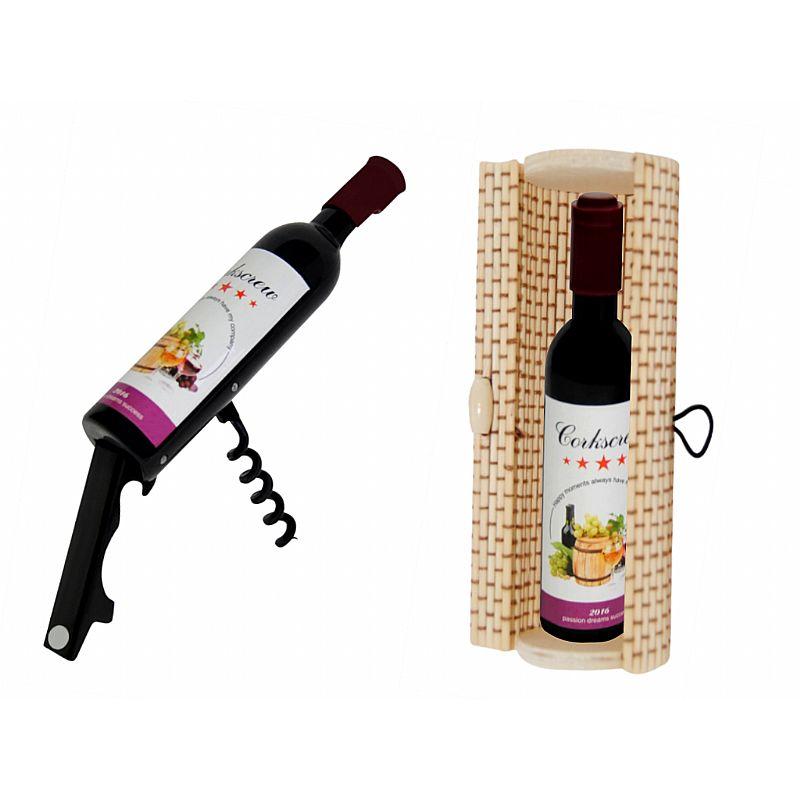 Destapador abrebotellas botella de vino (11,5 cm.) + caja de madera (8520)*