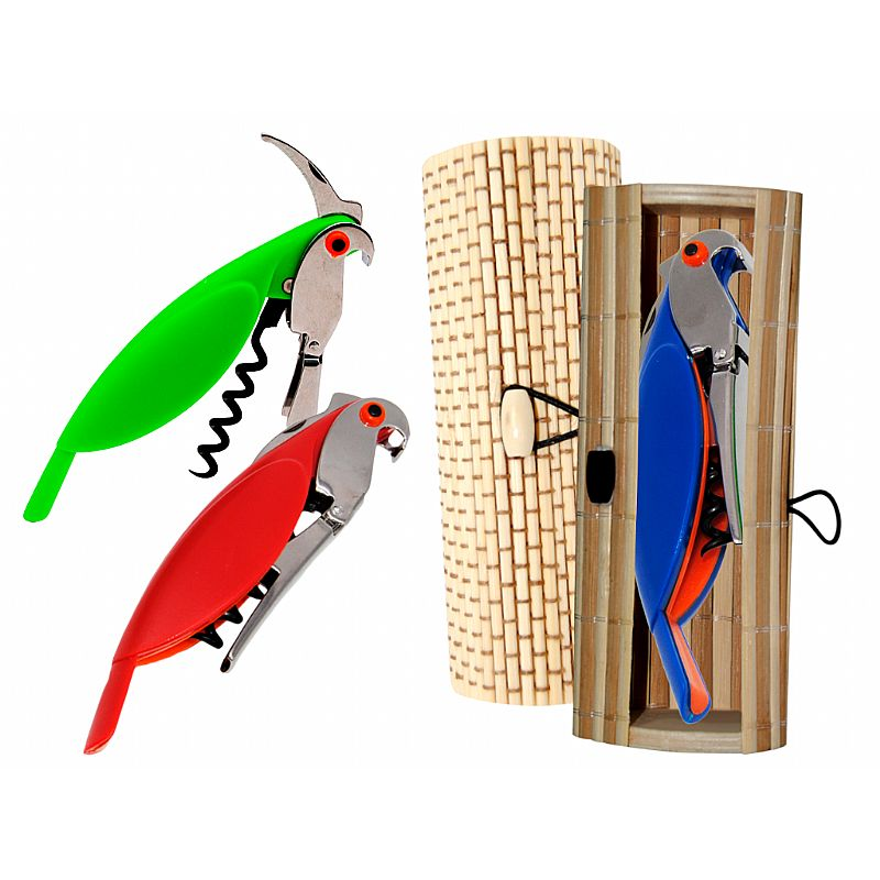 Destapador abrebotellas loro (13,5 cm.) + caja de madera (8520)*