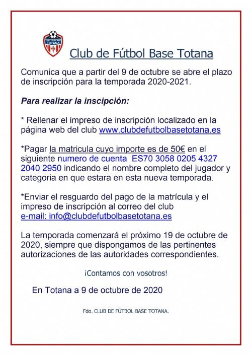 ABIERTO PLAZO INSCRIPCION TEMPORADA 2020-2021