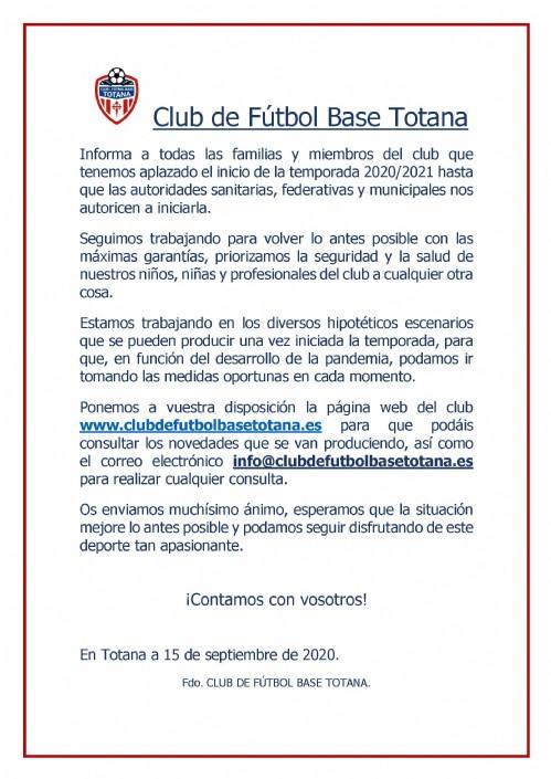 COMUNICADO OFICIAL TEMPORADA 2020/21