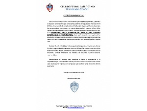 COMUNICADO OFICIAL INICIO TEMPORADA