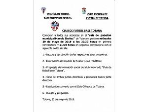 CONVOCATORIA PRESENTACION ACUERDO ENTRE  CLUB FUTBOL BASE