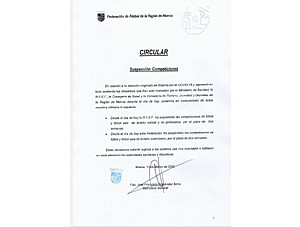 Comunicado FFRM suspension entrenamientos/partidos por COVID-19