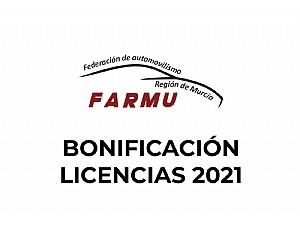 Bonificación licencias 2021