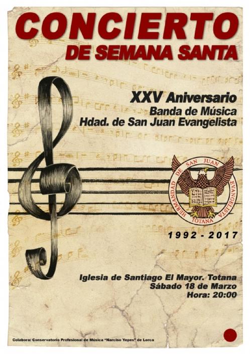 La Banda de Música de la Hermandad de San Juan Evangelista ofrecerá un concierto en la Parroquia de Santiago