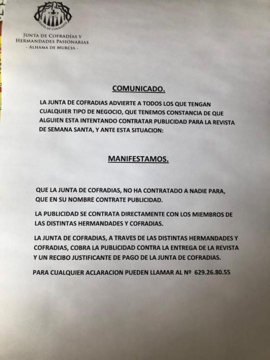 La Junta de Cofradías alerta de contratación irregular de publicidad